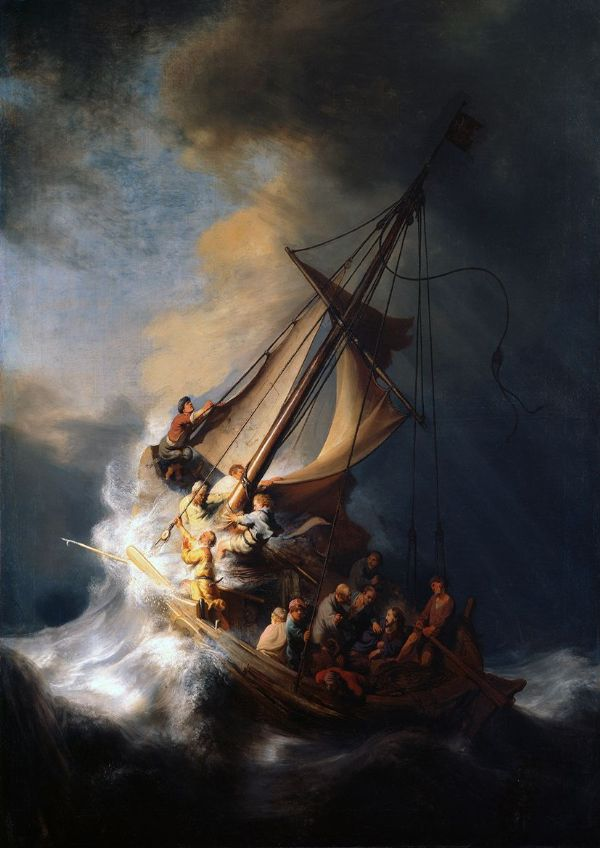 Rembrandt Harmensz van Rijn: Christ in the Storm on the Sea of Galilee, 1633. Fine Art Print/Poster. Sizes: A4/A3/A2/A1 (00178)